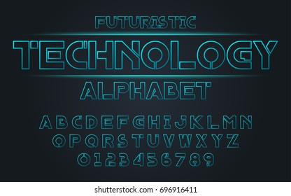 Line futuristic blue set style technology and modern.Decorative alphabet vector fonts and numbers.Typography design for headlines, labels, posters, logos, cover, etc.