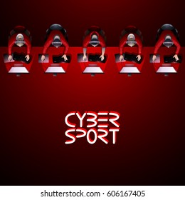 Line of game players sitting at the desk in front of computer. Top view. Cyber sport concept. Vector endless border