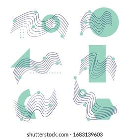 line geometric shapes set  with modern color elements composition. Design elements for Magazine, leaflet, billboard, sale, flyer, brochure, banner, web design, book