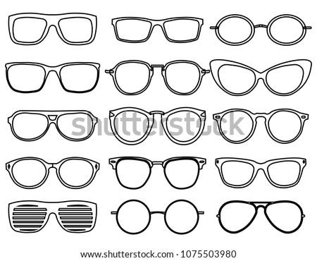 f831c4d217b Line Glasses Icons Wear Fashion Eyeglass Stock Vector (Royalty Free ...