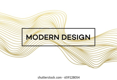 Line golden wave on white background. Vector illustration EPS10