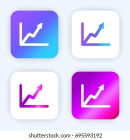 Line graph bright purple and blue gradient app icon