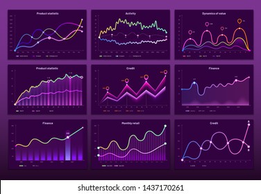 Line graph charts. Business financial graphs, marketing chart graphics and histogram infographic. Economy data graph, crypto currency prices bar or analytics analysis diagram vector set