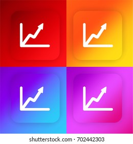 Line graph four color gradient app icon set