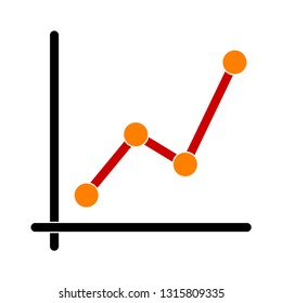 line graph icon - graph chart isolated , growth diagram illustration - Vector chart