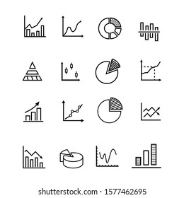 Line graph icons. Set of charts and diagrams. Isolated Vector illustration.