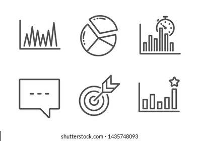 Line graph, Target and Report timer icons simple set. Blog, Pie chart and Efficacy signs. Market diagram, Targeting. Education set. Line line graph icon. Editable stroke. Vector