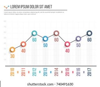 Line graph template, business infographics, vector eps10 illustration