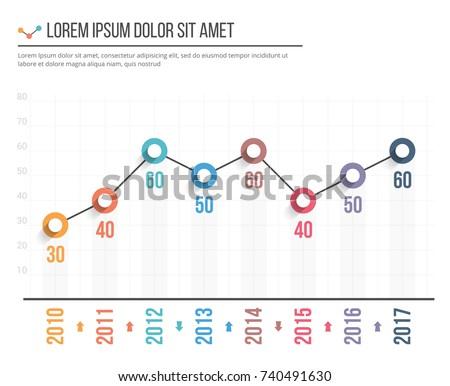 line graph template business infographics vector のベクター画像素材