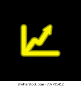 Line graph yellow glowing neon ui ux icon. Glowing sign logo vector