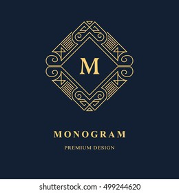 Line graphics monogram. Elegant art logo design. Emblem. Graceful template. Letter M. Business sign, identity for Restaurant, Royalty, Boutique, Cafe, Hotel, Heraldic, Jewelry, Fashion. Vector element