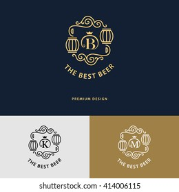 Line graphics monogram. Logo design. Flourishes frame ornament template with barrel for logos, labels, emblems for beer house, bar, pub, brewing company, brewery, tavern. Vector illustration.