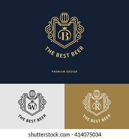 Line graphics monogram. Logo design. Flourishes frame ornament template with barrel for logos, labels, emblems for beer house, bar, pub, brewing company, brewery, tavern. Letter B, W, R. Vector