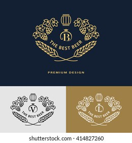 Line graphics monogram. Logo design frame ornament template with barrel, hops, malt, leaves.