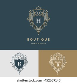 Line graphics monogram. Royal art logo design. Letter H, B, R. Graceful template. Business sign, identity for Restaurant, Royalty, Boutique, Cafe, Hotel, Heraldic, Jewelry, Fashion. Vector elements