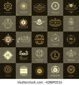 Line graphics monogram. Vintage Logos Design Templates Set. Business sign Letter emblem. Vector logotypes elements collection, Icons Symbols, Retro Labels, Badges, Silhouettes. Premium Collection