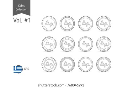 Line Greek Drachma coin vector. Isolated on white background. Simple thin line coin icons set for websites, web design, mobile app, infographics.