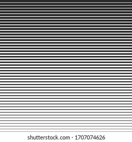 Line halftone pattern with gradient effect. Horizontal lines in black and white. Template for backgrounds and stylized textures. Stock Vector design element.