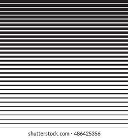 Line halftone pattern with gradient effect. Horizontal lines in black and white. Template for backgrounds and stylized textures. Horizontally seamless. Vector eps8 design element.