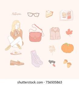 line hand drawing style pastel tone vector illustration. autumn season object flat design