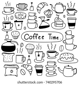 Line Hand Drawn Doodle Vector Set Of Coffee. Vector Illustration.
