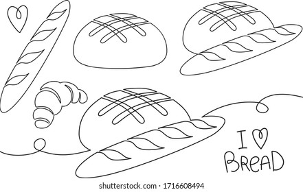 Line hand-drawn style vector illustrations of bread, baguette, croissant. Lettering about loving bread. Logo and icons for bakery