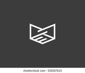 Line handshake crown logo design. Royal teamwork vector logotype.