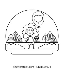 line happy girl in the landscape with heart balloon
