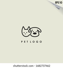 Line Of Head Pet Logo Design. Line Of Head Pet Logo Template. Modern Design. Flat Logo. Vector Illustration