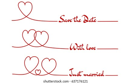 Line Hearts Save the Date - With love - Just married.