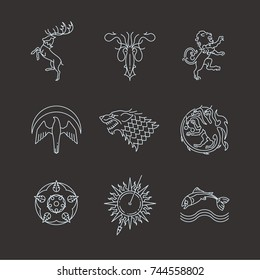 Line heraldic animals gaming thrones symbols. Animal dragon and wild beast mythology. Vector illustration