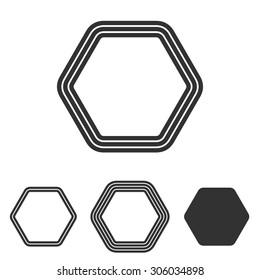 Line hexagon logo design set