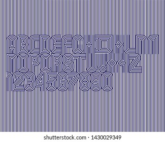 Line Hidden Font set in vector format