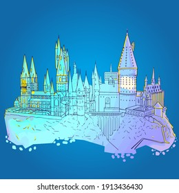 Line Hogwarts Castle. Vector illustration of a school of wizardry from the world of Harry Potter. Illustrative editorial. Ukraine Kyiv 12.16.2020
