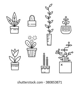 Line house plants icons. Vector set isolated on white