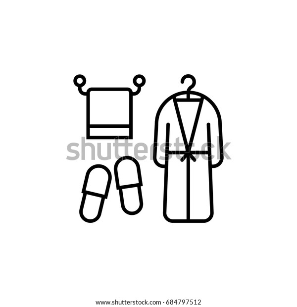 Seiltücher, Bademäntel und Hausschuhe. Konzept von Baumwolle Textilien, Komfort Aufenthalt, saubere Entspannung, Pflege in der Herberge. lineares logotype Grafikdesign einzeln auf weißem Hintergrund