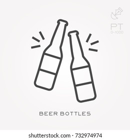 Line icon beer bottles