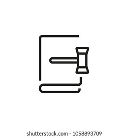 Line icon of book and gavel. Law, justice, judge. Court concept. Can be used for topics like legislation, judicial system, judgment