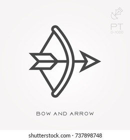 Line icon bow and arrow