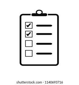 Line icon check list isolated on white background. Vector illustration. Done list.