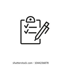 Line icon of checklist with pen. To do list, questionnaire, contract. Recruitment concept. Can be used for topics like business, planning, time management
