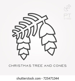 Line icon christmas tree and cones