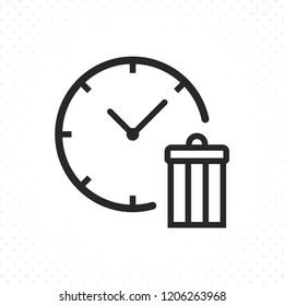 Line icon clock with trash. Illustration of a clock with garbage symbol, Delete time or clock icon. Clock time and trash icon