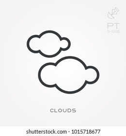 Line icon clouds