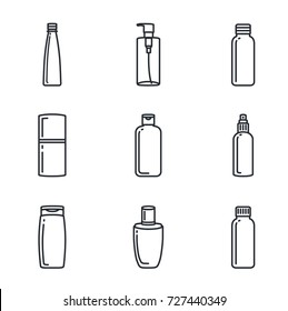 Line icon of cosmetic bottle collection. Ideal for media about beauty product.