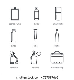 Line icon of cosmetic container collection and equipment . Ideal for media about beauty product.