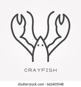 Line icon crayfish