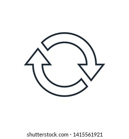 Line  icon of cyclic rotation, recycling recurrence, renewal.