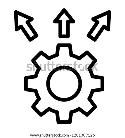 Line Icon Design Automated Solution Diagram Stock Vector Royalty