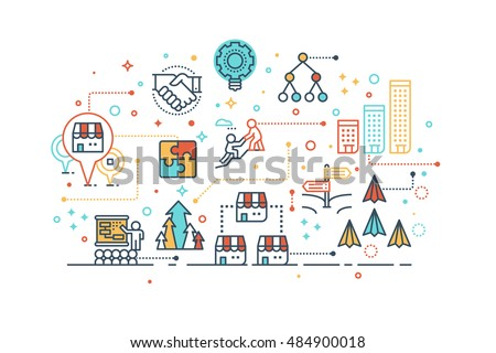 Line icon design illustration of startup franchise business concept, isolated on white background